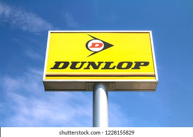 Ankara, Turkey - AUG 1, 2018: Dunlop Store logo, Dunlop is a tyre brand owned by Goodyear Tire and Rubber Company.