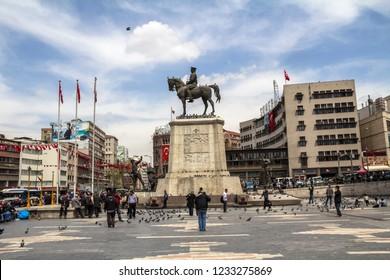 ANKARA, TURKEY - AUG 17, 2018: Statue of Ataturk, the founder of modern Turkey, Ulus, Ankara
