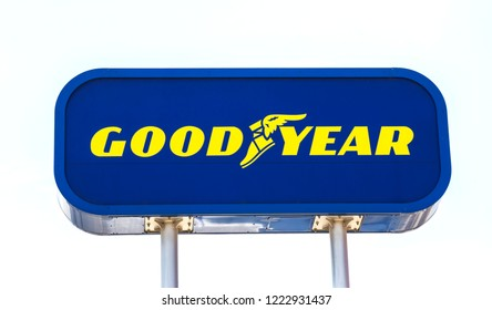 Ankara, Turkey, AUG 5, 2018: Sign for Goodyear tire shop. The Goodyear Tire & Rubber Company is an American tire manufacturing company.