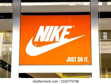 best service 9b201 3b5db Ankara, Turkey - AUG 8, 2018  Nike logo. Nike is a global