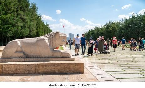 Ankara, Turkey - August 2019: People walk in Road of Lions to reach Anitkabir mausoleum of Mustafa Kemal Ataturk. Many people visit Anitkabir every year.
