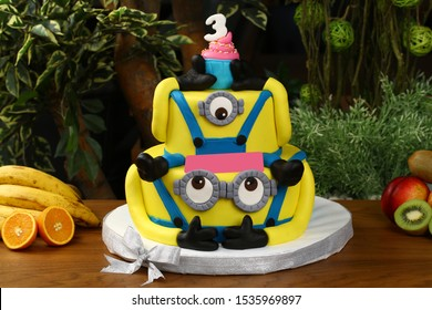 Ankara, Turkey - August 24, 2017: Birthday cake with minion yellow glasses character concept