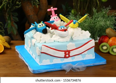 Ankara, Turkey - August 24, 2017: Creative birthday cake plane on clouds , birthday of children