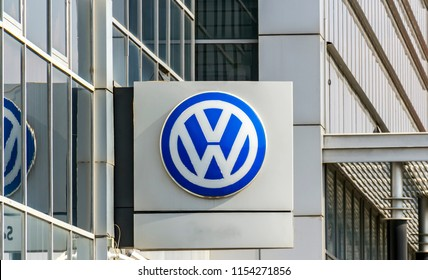 Ankara, TURKEY - August 5, 2018 : Volkswagen logo on a facade. Volkswagen is a German car manufacturer headquartered in Wolfsburg, Germany