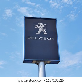 Ankara, TURKEY - August 5, 2018 : Peugeot dealership logo on the office of official dealer. Peugeot is a French car brand, part of PSA Peugeot Citroen