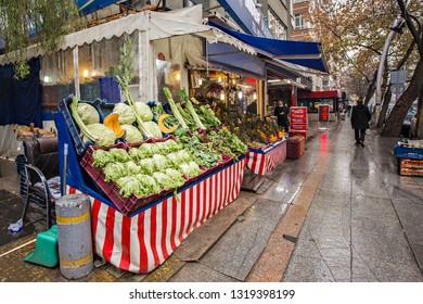 ANKARA, TURKEY - December 2018: Fruit and vegetable shop in Ankara city. Rainy day in Ankara, Turkey