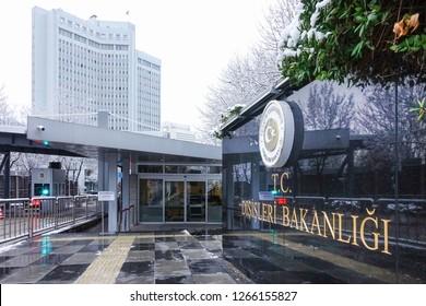 Ankara / Turkey - December 22 2018: Ministry of Foreign Affairs building in Ankara, Turkey