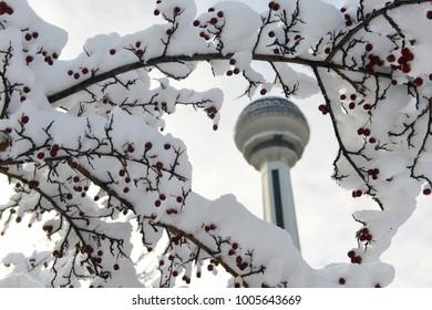 ANKARA, TURKEY - DECEMBER 25, 2017: Atakule in snow. Atakule is one one of the primary landmarks of Ankara. - Turkey