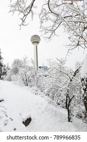 ANKARA, TURKEY - DECEMBER 25, 2017: Atakule and Botanic Park in snow. Atakule is one one of the primary landmarks of Ankara. - Turkey