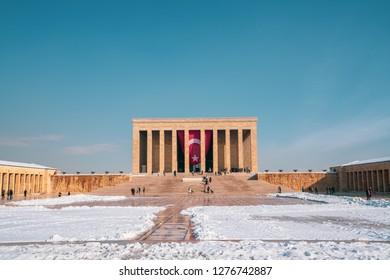 ANKARA, TURKEY - December 27, 2018: Anitkabir in Ankara, Turkey. Anitkabir is Mausoleum of Ataturk.