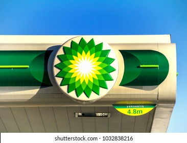 Ankara, Turkey - FEB, 2015: BP - British Petroleum petrol station logo over blue sky. British Petroleum is a British multinational oil and gas company