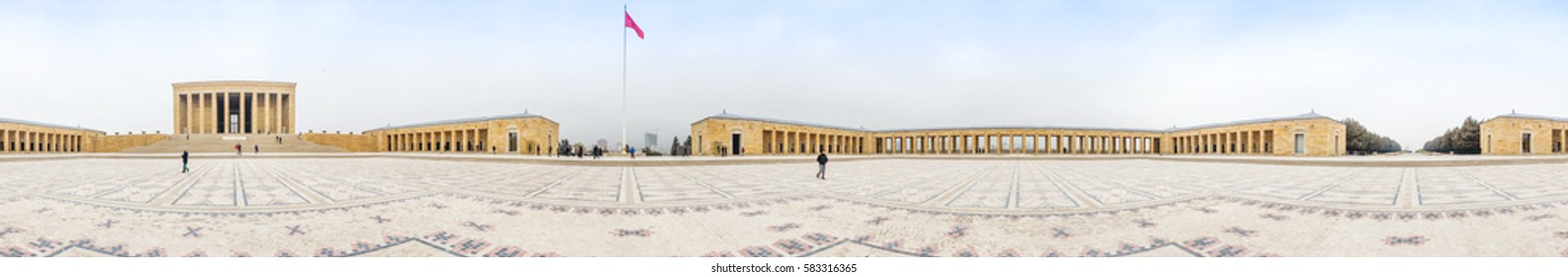 ANKARA, TURKEY - FEBRUARY 14, 2017 : Anitkabir - Mausoleum, the tomb of the founder and first president of the Turkish Republic Mustafa Kemal Ataturk