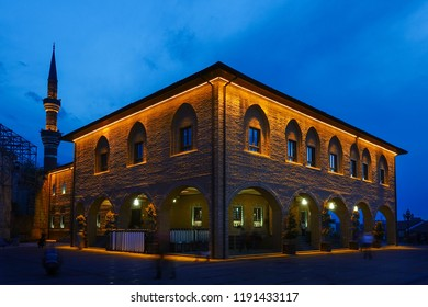 Ankara, Turkey - Historical Haci Bayram Mosque is one of the best known mosques in Ankara. It was built during the Ottoman Empire period and a tourist magnet in modern times. - Night shot