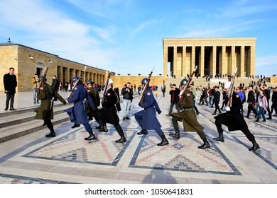 Ankara, Turkey - JAN 17, 2018: Anitkabir in Ankara Turkey. Anitkabir is Mausoleum of Ataturk.