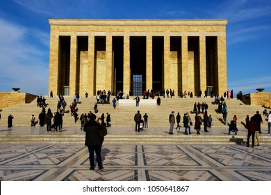 Ankara, Turkey - JAN 17, 2018: Anitkabir in Ankara Turkey. Anitkabir is Mausoleum of Ataturk.