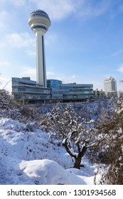 ANKARA, TURKEY - JANUARY 01, 2019: Atakule and Botanic Park in snow. Atakule is one one of the primary landmarks of Ankara. - Turkey