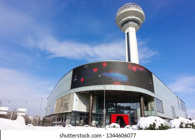 ANKARA, TURKEY - JANUARY 01, 2019: Atakule and shopping center. Atakule is one one of the primary landmarks of Ankara.