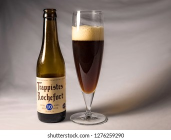 ANKARA, TURKEY - January 05, 2019: Belgian trappist beer Rochefort 10 waiting to be consumed. Brewed by the trappist monks, Rochefort is considered to be one of the best beers of the world.