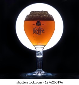 ANKARA, TURKEY - January 05, 2019: Homebrewed beer waiting to be served in a Leffe glass. Homebrewing is rapidly growing in Turkey and more people starts to brew their beer in their homes.