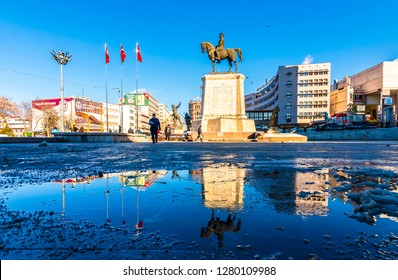 Ankara, Turkey - January 09, 2019 : Ataturk Statue in Ulus District of Ankara City.