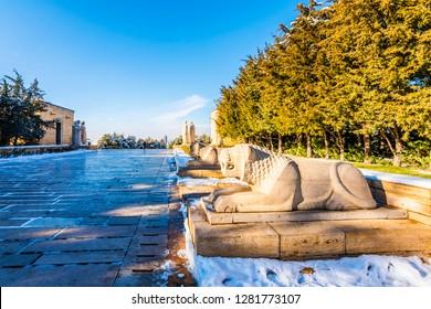 Ankara, Turkey - January 09, 2019 : Aslanli Road view in Anitkabir Mausoleum of Ankara City