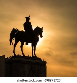 ANKARA, TURKEY - JANUARY 17, 2017: Silhouette of the Statue of Ataturk in Ulus Square. Ulus, Ankara. The monument was inaugurated on 24 November 1927 and It was restored in 2002.