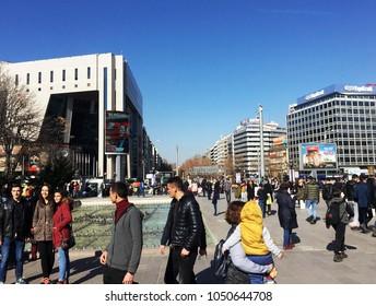 ANKARA, TURKEY - JANUARY 17: Kizilay square , city center of Ankara, Ankara is the capital city of Turkey on 29 January  2018, Ankara , it is the second most crowded city of Turkey
