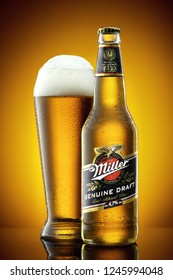 ANKARA, TURKEY - January 2017: Miller beer bottle and frosty glass full of beer with foam. Miller Genuine Draft is a product of the Miller Brewing Company owned by SABMiller. Editorial use.