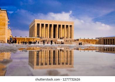 Ankara, Turkey - January 7, 2019: Anitkabir is the mausoleum of the founder of Turkish Republic, Mustafa Kemal Ataturk.Winter Anitkabir.