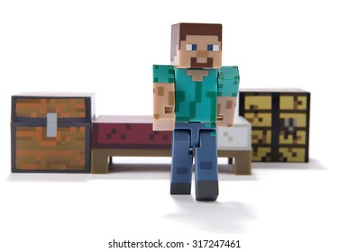 Ankara, Turkey  July 01, 2015: Minecraft figure Herobrine isolated on white background.  Minecraft is a game about breaking and placing blocks.