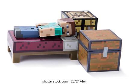 Ankara, Turkey  July 01, 2015: Minecraft figure Herobrine sleeping isolated on white background.  Minecraft is a game about breaking and placing blocks.