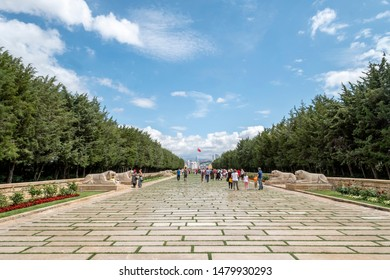 Ankara/ Turkey - July 18, 2019: Pathway to Anitkabir, Ataturk's Mausoleum or Tomb, Ankara, Turkey