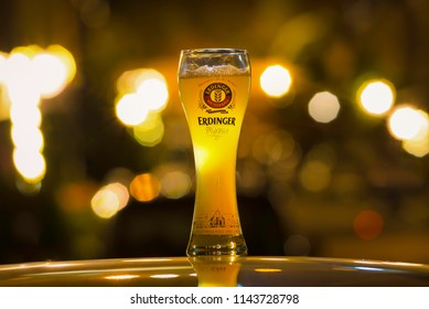 ANKARA, TURKEY - July 27, 2018: An example of homebrewed beer by a Turkish brewer, served in an Erdinger glass. Homebrewing is on the rise in Turkey.