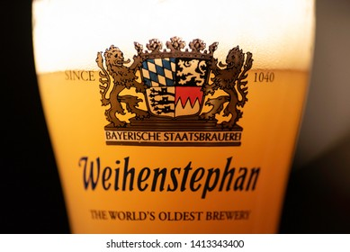 ANKARA, TURKEY - July 27, 2018: An example of homebrewed beer by a Turkish brewer, served in an Weihenstephan glass. Homebrewing is on the rise in Turkey.