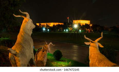 Ankara / Turkey  - July 28 2019:Ataturk Mausoleum at night, Anitkabir can be seen through goat sculpture around Anittepe.