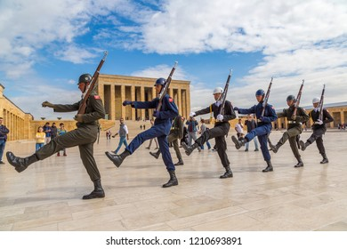 ANKARA, TURKEY - JULY 29, 2017: Anitkabir in Ankara, The guard shift ceremony, Turkey in a beautiful summer day