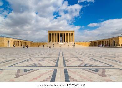 ANKARA, TURKEY - JULY 29, 2017: Anitkabir, mausoleum of Ataturk, Ankara, Turkey in a beautiful summer day
