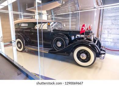 ANKARA, TURKEY - JULY 29, 2017: Ataturk's private car in Anitkabir, mausoleum of Ataturk, Ankara, Turkey in a beautiful summer day