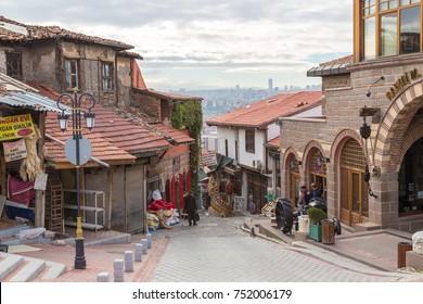 ANKARA, TURKEY - JULY 29, 2017: Old market (bazar) street in Ankara, Turkey in a beautiful summer day