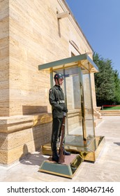 ANKARA, TURKEY - JULY 29, 2019:  The guard soldier in Anitkabir, Mausoleum of Ataturk, founder of Turkish Republic in Ankara, Turkey