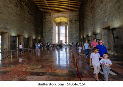 ANKARA, TURKEY - JULY 29, 2019:  The interior details of Mausoleum of Ataturk (Anitkabir) - Ankara, Turkey