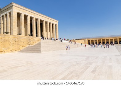 ANKARA, TURKEY - July 29, 2019: Tourists visiting Ataturk Mausoleum, Anitkabir, monumental tomb of Mustafa Kemal Ataturk,