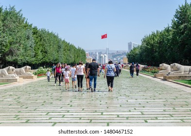 ANKARA TURKEY - JULY 29,2019 : People walk in Road of Lions to reach Anitkabir mausoleum of Mustafa Kemal Ataturk. Many people visit Anitkabir every year.