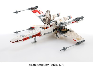 Ankara, Turkey - June 02, 2012: Lego Star Wars. Classic X-wing starfighter isolated on white background.