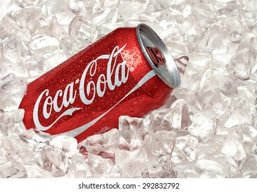 ANKARA TURKEY - June 1, 2015: Editorial photo of Classic Coca-Cola can on white background with ice. Coca-Cola Company is the most popular market leader in Turkey.