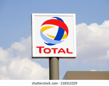 Ankara, Turkey - June 21, 2014: Total sign identifying a gas station. Total  is a French multinational oil company and one of the Supermajor oil companies in the world.