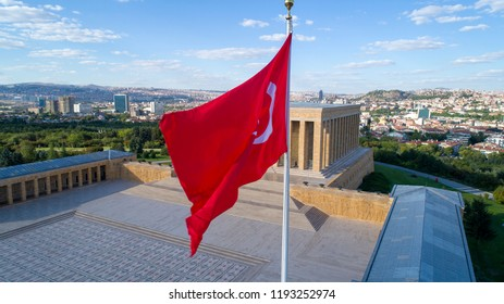 Ankara, Turkey - June 25, 2018: Aerial view of Ataturk Mausoleum, Anitkabir, monumental tomb of Mustafa Kemal Ataturk, first president of Turkey in Ankara, Tomb of modern Turkey's founder lies here.
