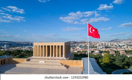 Ankara, Turkey - June 25, 2018: Aerial view of Ataturk Mausoleum, Anitkabir, monumental tomb of Mustafa Kemal Ataturk, first president of Turkey in Ankara, Tomb of modern Turkey's founder lies here.