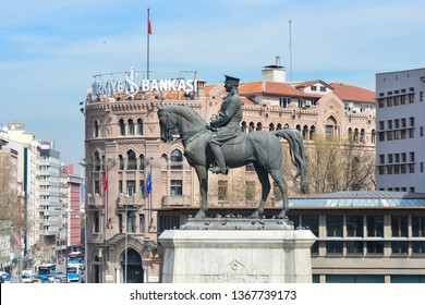 Ankara, Turkey - March 10  2019: The statue of Ataturk and Ulus Square - Ankara, Turkey