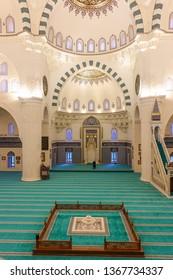ANKARA, TURKEY - MARCH 16, 2019: Melike Hatun Mosque interior details